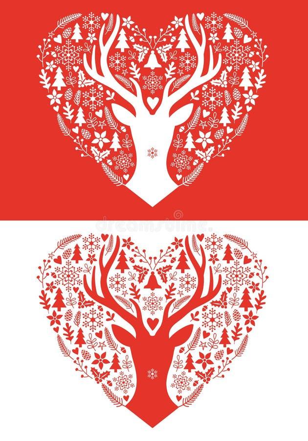 Julkort med röd hjärta, vektor stock illustrationer