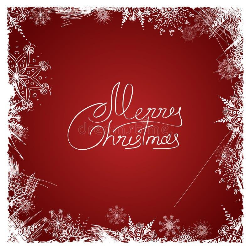 Julkort med ramen av snöflingor stock illustrationer