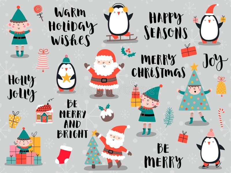Julkort med Santa Claus, pingvin, älva i tecknad filmstil royaltyfri illustrationer