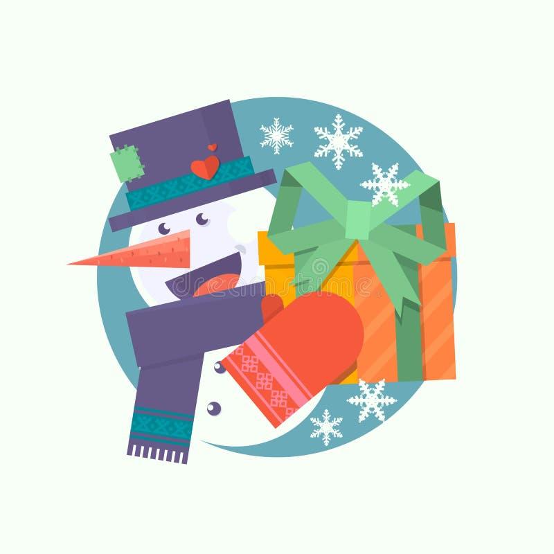 Julkort med snögubbeinnehavgåva Plan vektorillustration vektor illustrationer