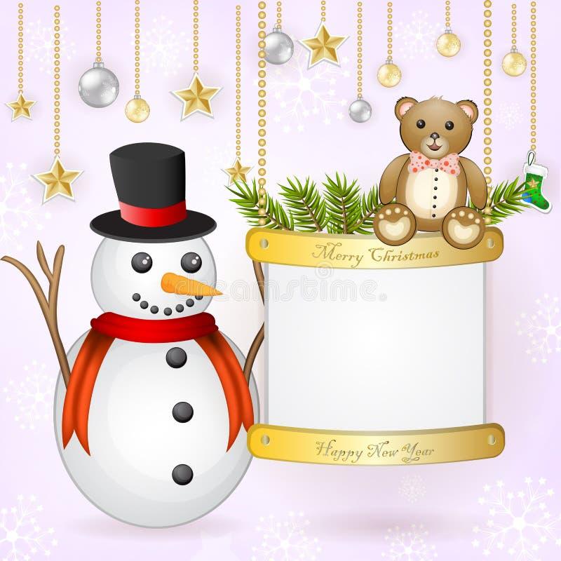 Julkort med snögubben och nallebjörnen vektor illustrationer