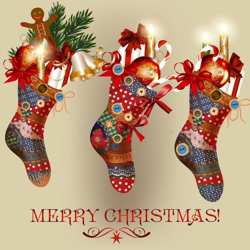 Julkort med sockor, struntsaker, klockor och gåvor royaltyfri illustrationer
