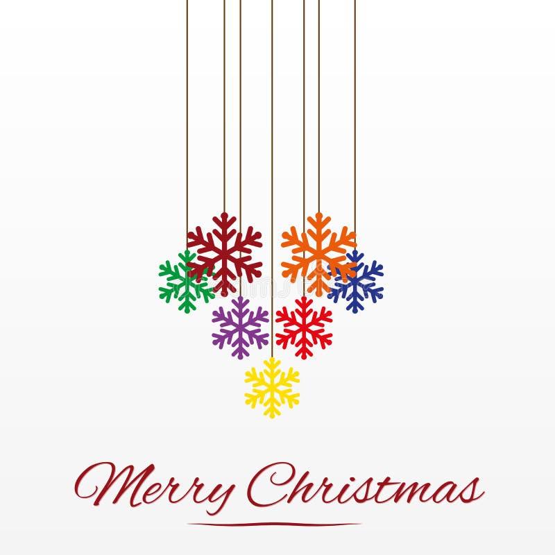 Julkort med stiliserad garnering för julträd royaltyfri illustrationer