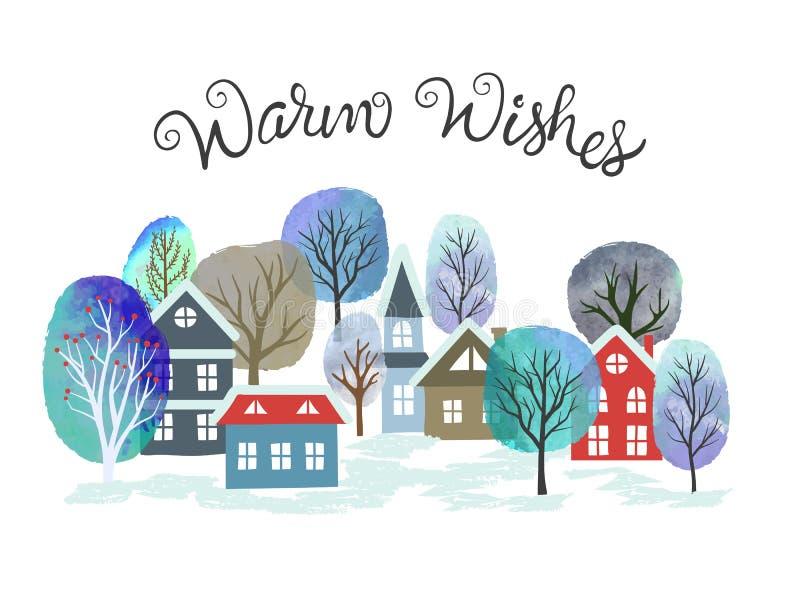 Julkort med träd och hus med vattenfärg Vektorstadens vinterlandskap royaltyfri illustrationer