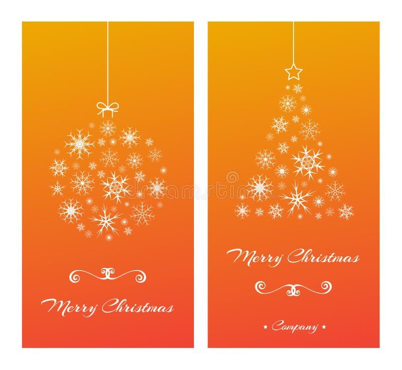 Julkort med trädet och bollen från snöflingor på apelsinen vektor illustrationer