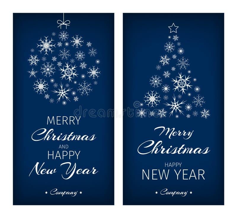 Julkort med trädet och bollen komponerade från snöflingor stock illustrationer