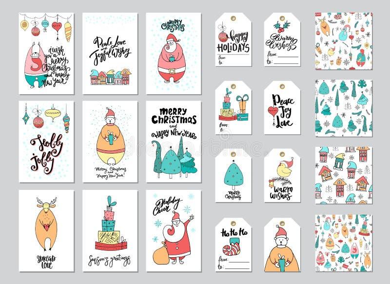 Julkort- och gåvaetikett, modelluppsättning vektor illustrationer