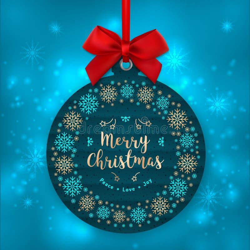 Julkort trädgarnering Lycklig etikett för feriegåva, kraft etikett vektor illustrationer