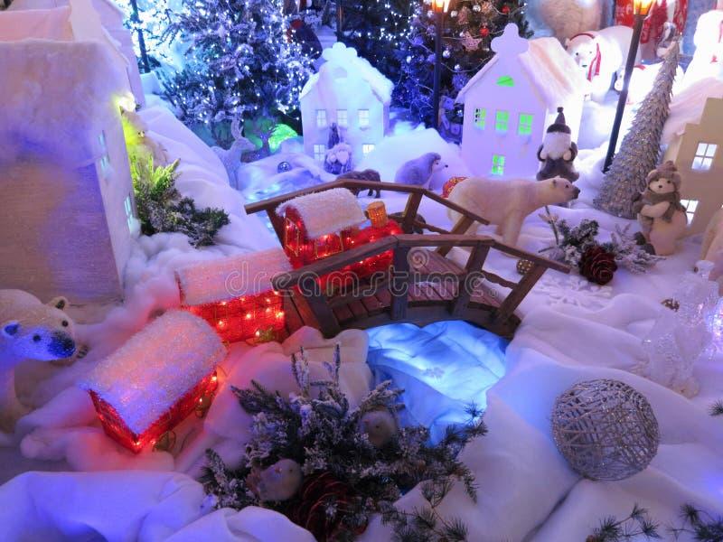 Julkort: Vinterälvornas rike - materielfoto arkivbilder