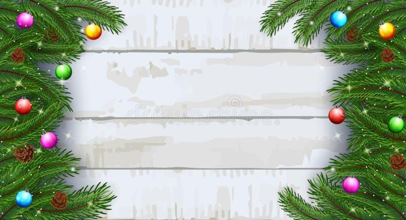 Julkortbakgrund med granfilialer och sörjer kottar royaltyfri illustrationer
