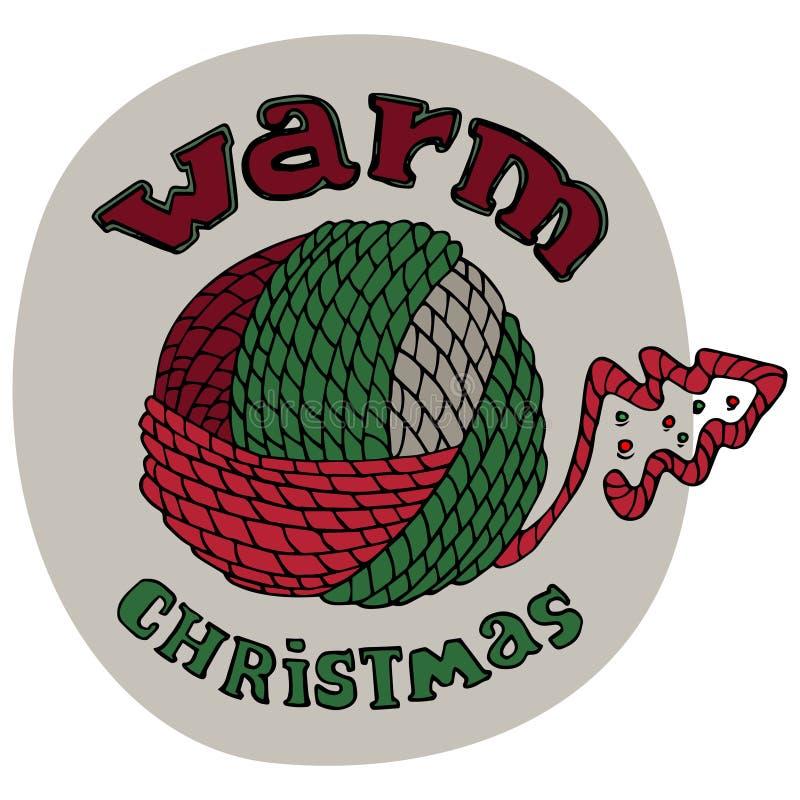 Julkortdesign med varm julönskatitel Boll av ullgarn Trådjulgran Dragen vektordesign för tecknad film hand vektor illustrationer