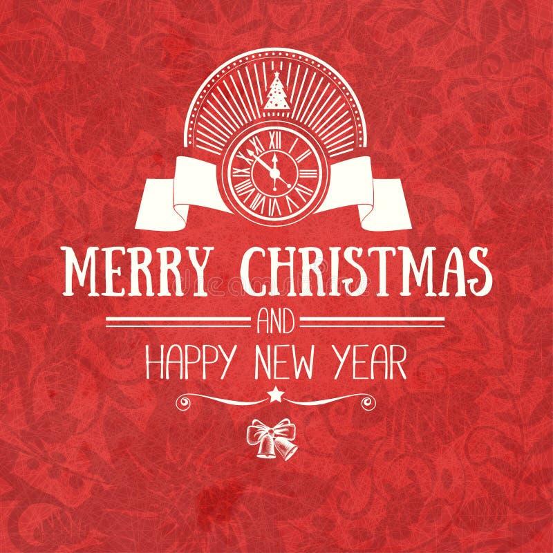 Julkortet för retro plan stil för tappning önskar den moderiktiga glade och det nya året hälsning royaltyfri illustrationer