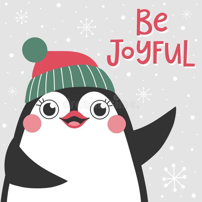 Julkortet med den gulliga pingvinet och text är glad vektor illustrationer