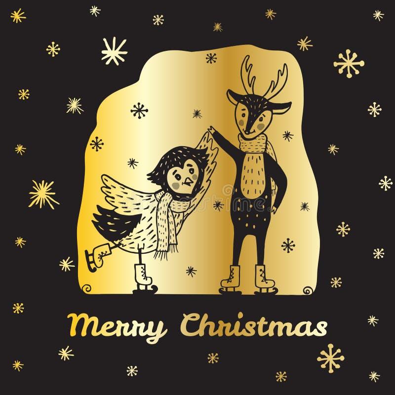 Julkortet med handen drog renen och ugglan åker skridskor stock illustrationer
