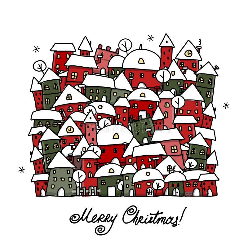 Julkortet med vinterstaden skissar för ditt stock illustrationer