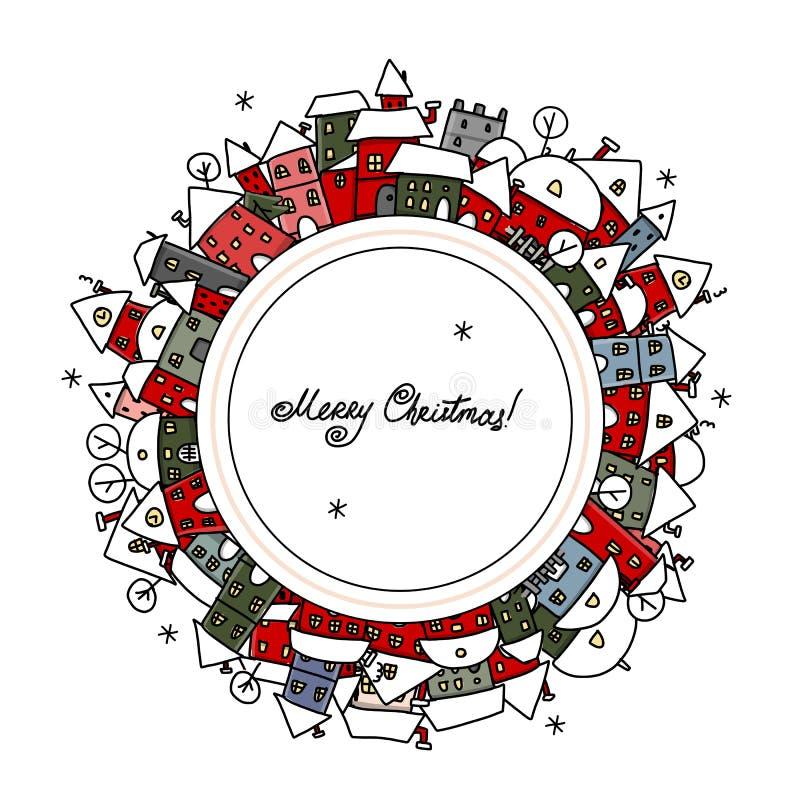 Julkortet med vinterstaden skissar för ditt vektor illustrationer