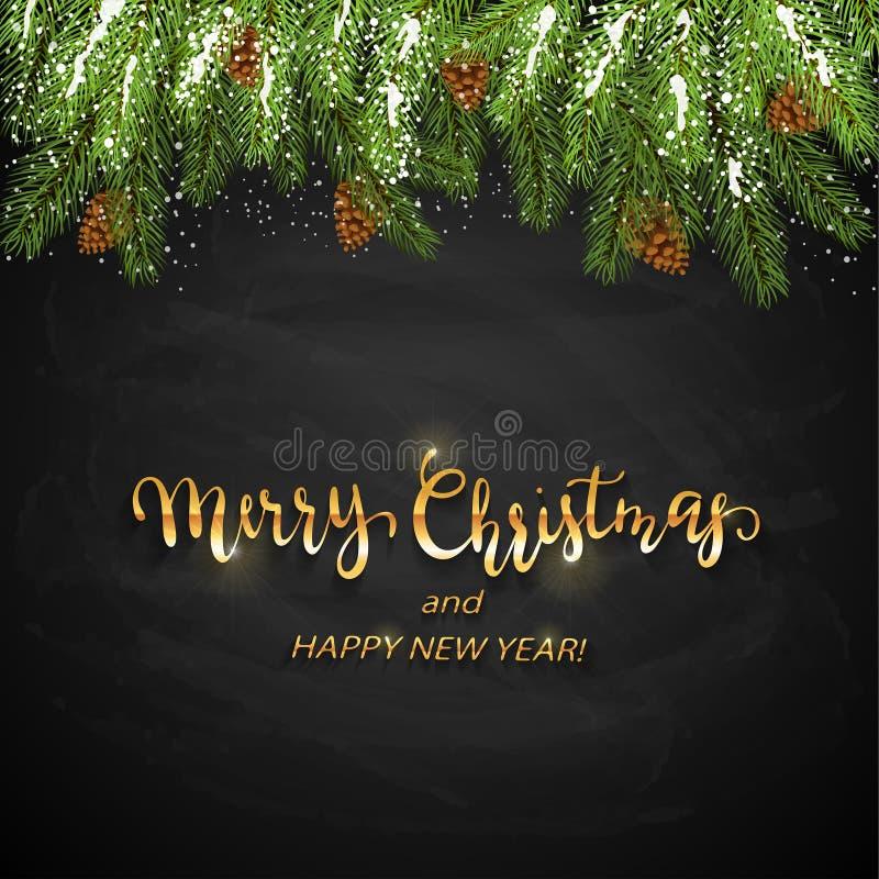 Julkortet och prydliga filialer med sörjer kottar och snö Feriegarneringar och guld- märka glad jul och lyckligt vektor illustrationer