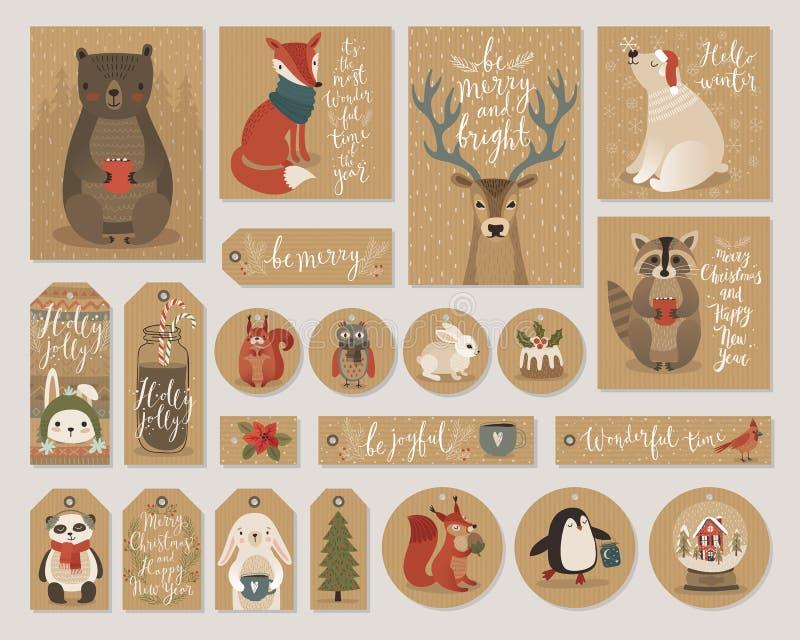 Julkraft ställer räcker pappers- kort och gåvaetiketter in, utdragen stil vektor illustrationer