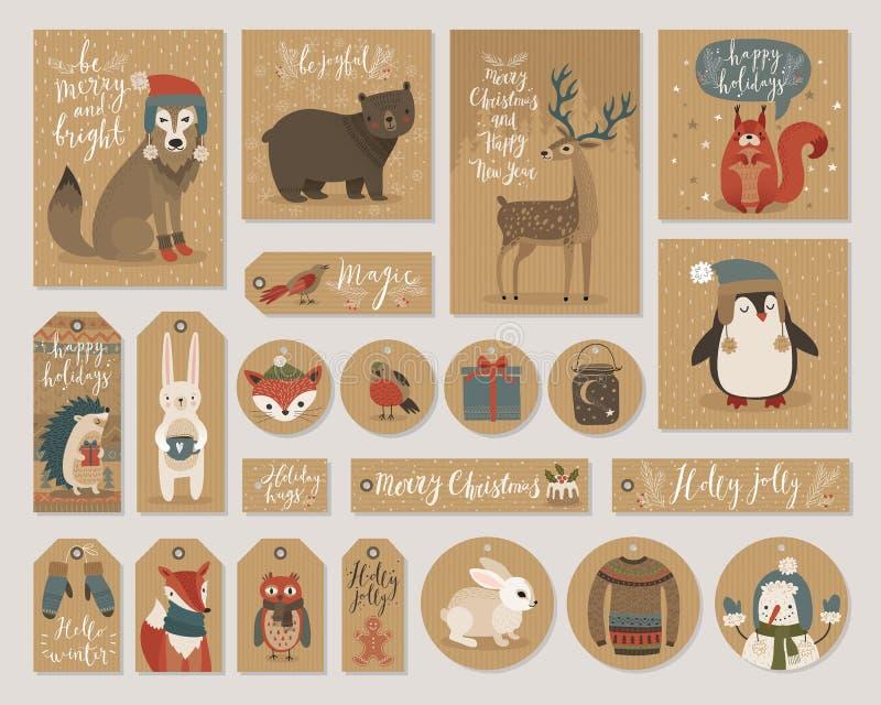 Julkraft ställer räcker pappers- kort och gåvaetiketter in, utdragen stil royaltyfri illustrationer