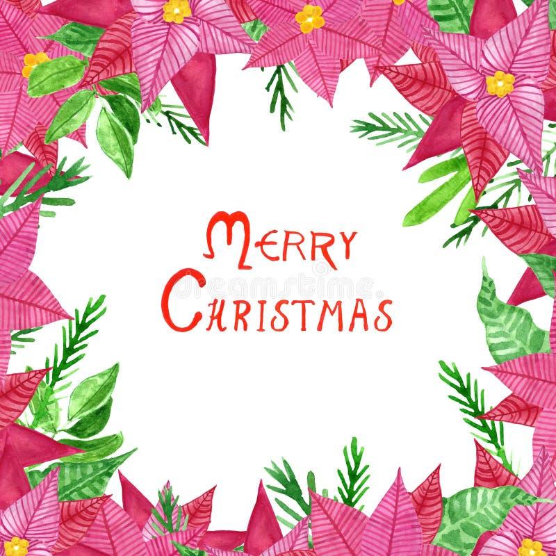 Julkrans med blommor för julstjärna för utdragen vattenfärg för hand röda, sidor och prydliga filialer royaltyfri illustrationer