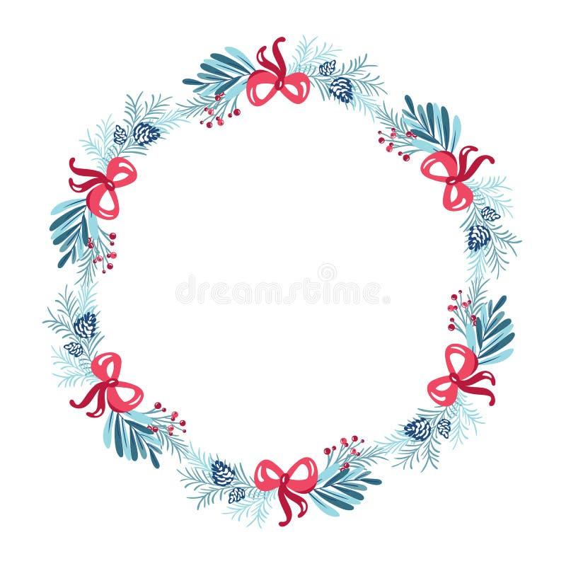Julkrans med bouquet-blomman Vektormall för hälsningskort Vindrutekonar och rosa båge isolerade på royaltyfri illustrationer