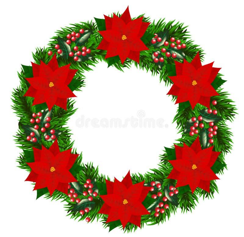 Julkrans med julstjärnan vektor illustrationer