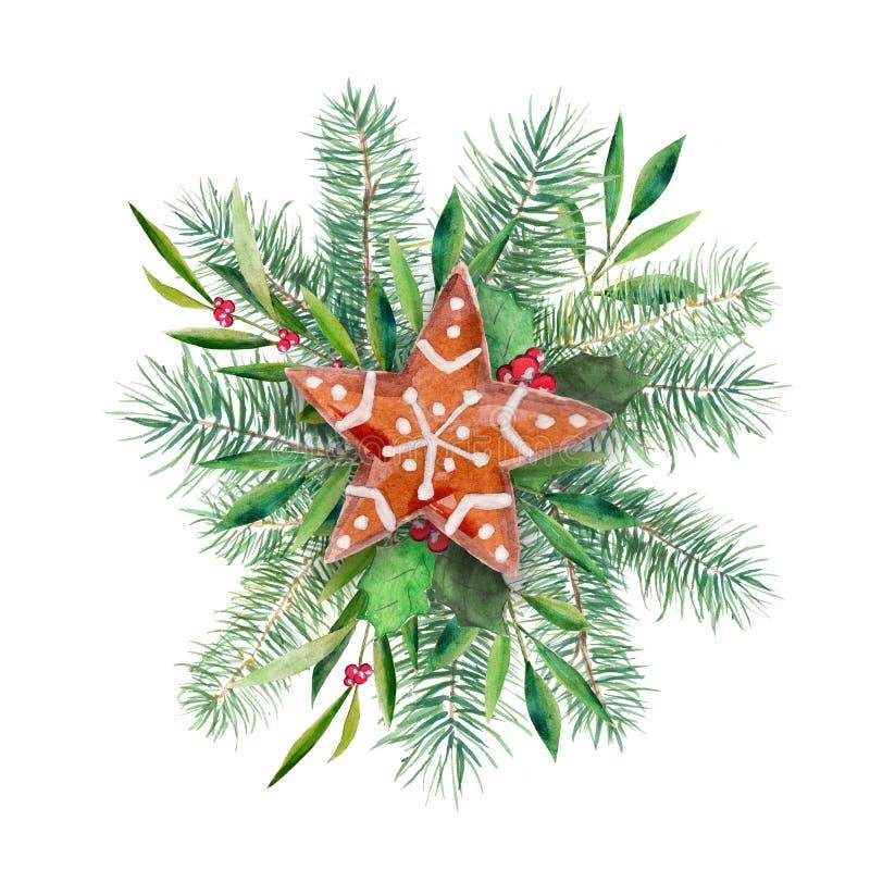 Julkrans med kakan, gran och den olivgröna filialen Handdrawn illustration för vattenfärg som isoleras på vit royaltyfri illustrationer