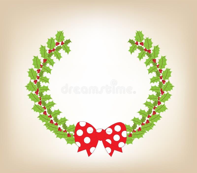 Julkrans med röd pilbågebakgrund stock illustrationer