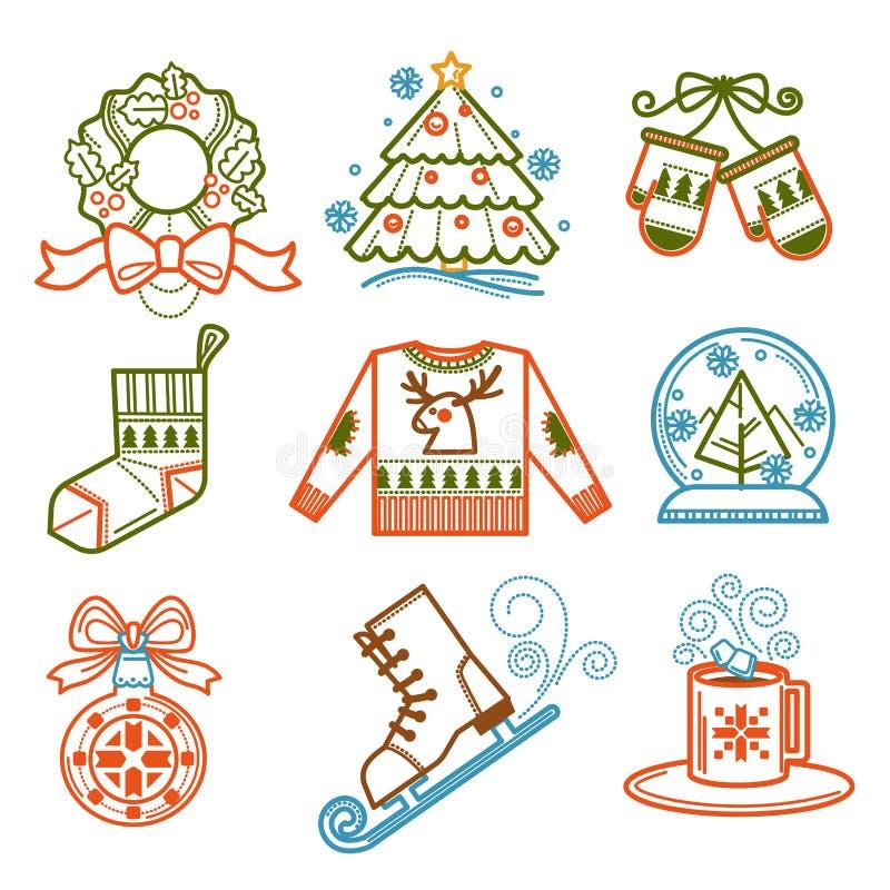 Julkrans och att sörja trädet, sockor och tumvanten vektor illustrationer