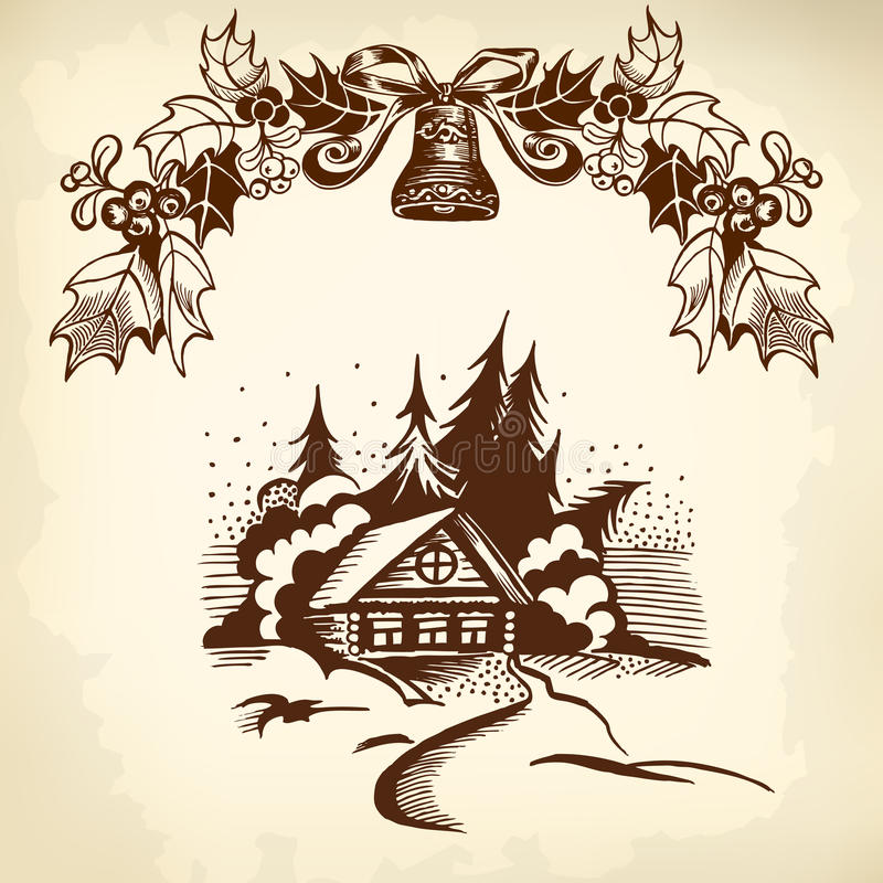 Julkrans och hus vektor illustrationer