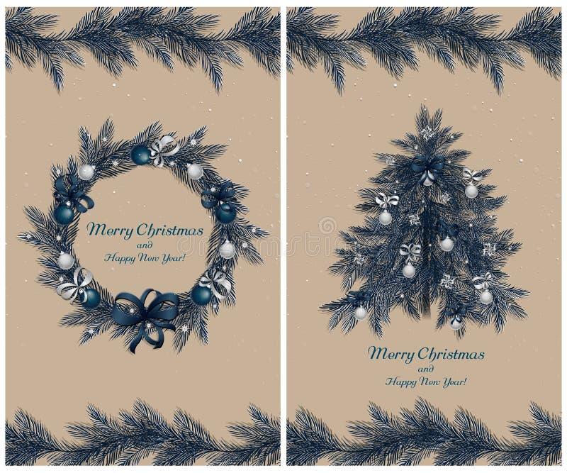 Julkrans och träd med garneringar: bollar, band och stjärnor Uppsättning av två hälsningkort royaltyfri illustrationer
