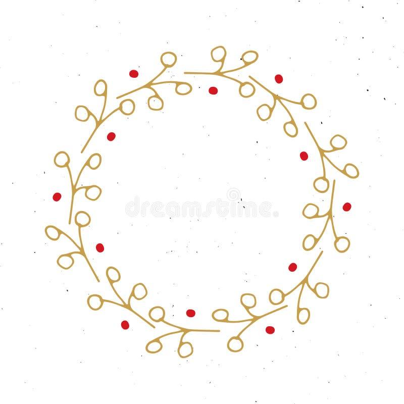 Julkransrundan inramar utdragna klotter för fastställd hand också vektor för coreldrawillustration stock illustrationer