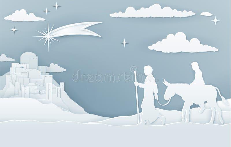 JulKristi födelse Mary Joseph och Betlehem royaltyfri illustrationer