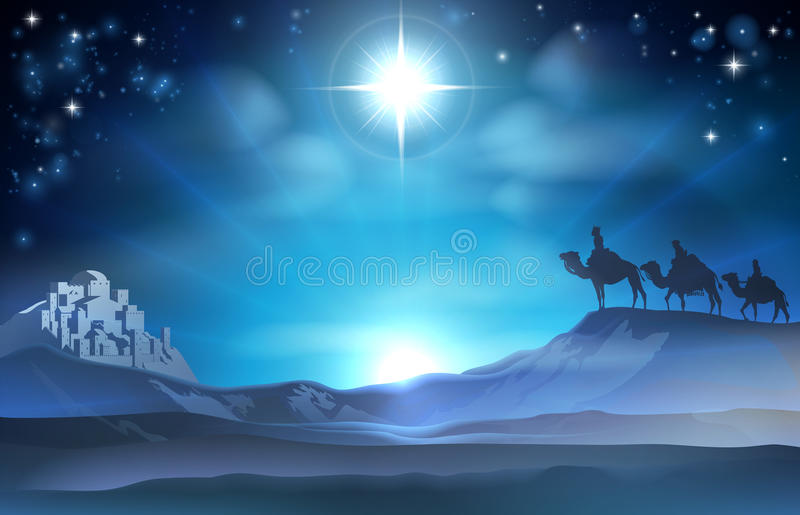 JulKristi födelsestjärna och kloka män stock illustrationer
