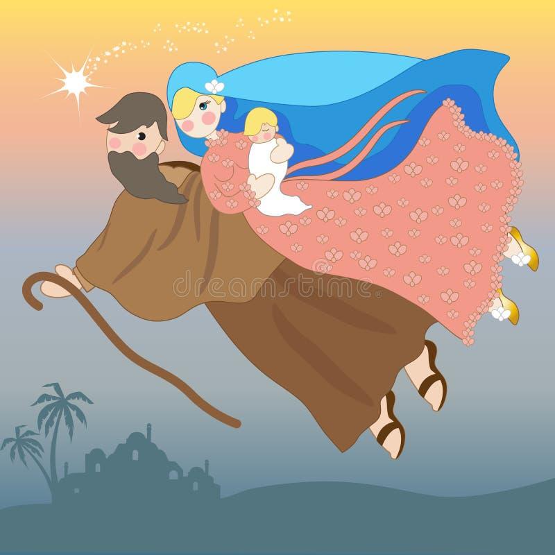 Julkrubba av Jesus med den heliga familjen i flykten stock illustrationer