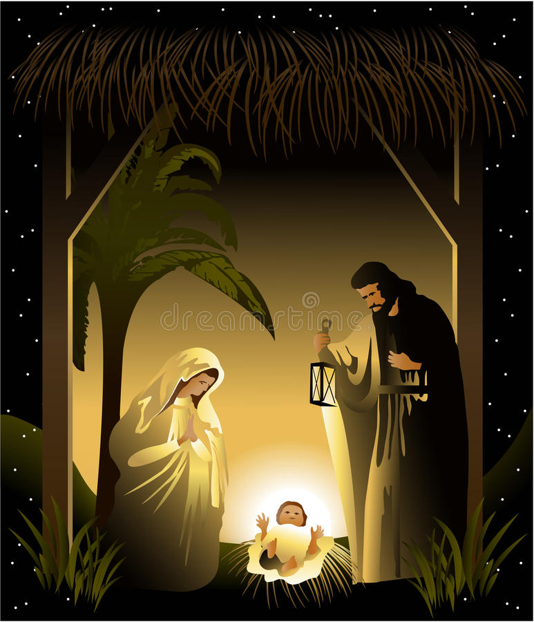 julkrubba för julfamiljhelgedom vektor illustrationer