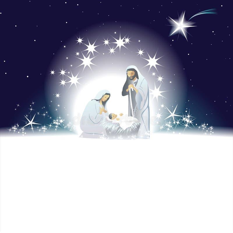 Julkrubba med den heliga familjen royaltyfri illustrationer