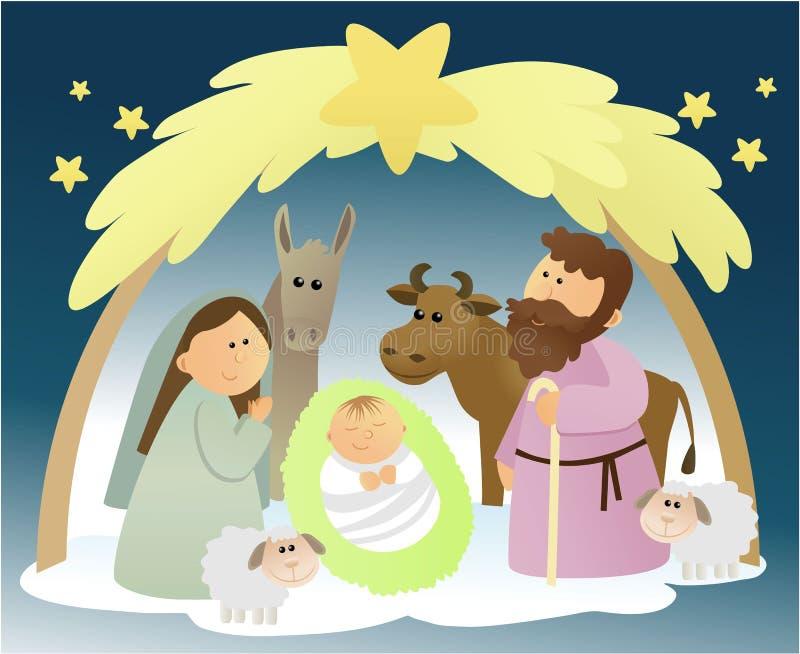Julkrubba med den heliga familjen stock illustrationer