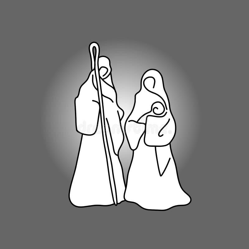 Julkrubba med helig sketc för klotter för familjvektorillustration stock illustrationer