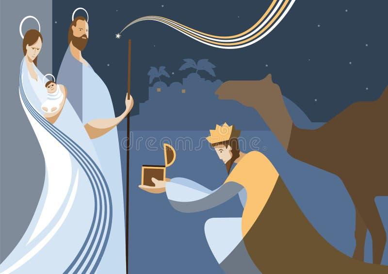 Julkrubba och de tre kloka männen stock illustrationer