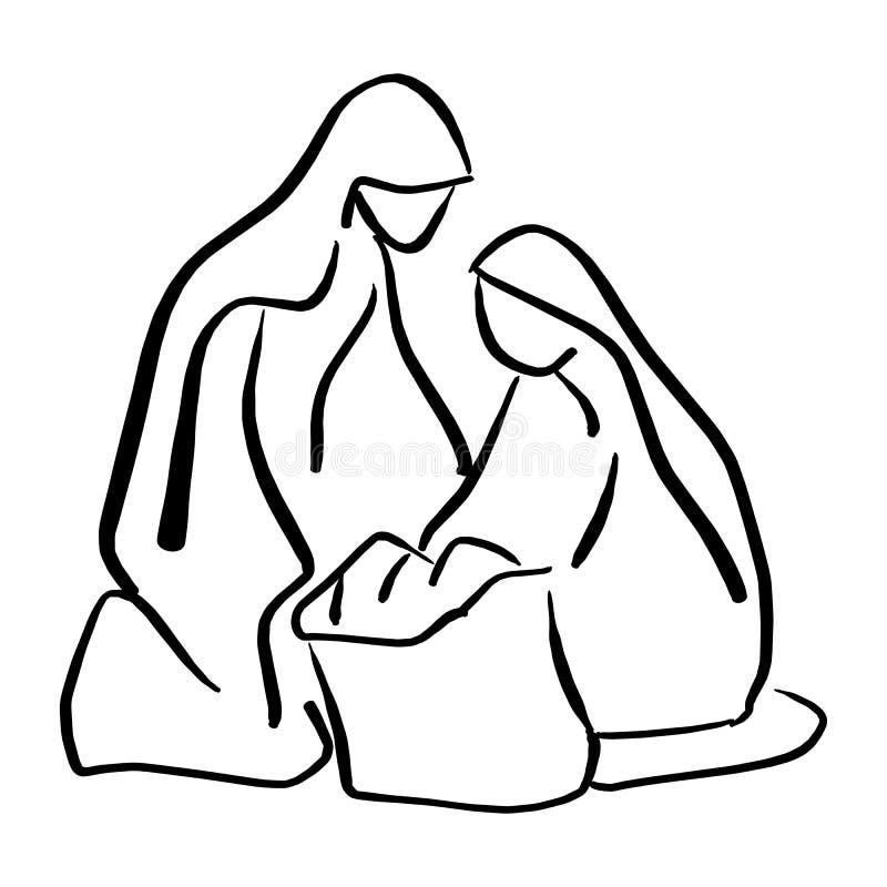 Julkrubban av behandla som ett barn Jesus i krubba med Mary, och illustrationen för den Joseph konturvektorn skissar klotterhande royaltyfri illustrationer