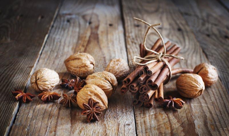 Julkryddor (kanelbruna pinnar, stjärnaanis och valnötter) royaltyfri fotografi