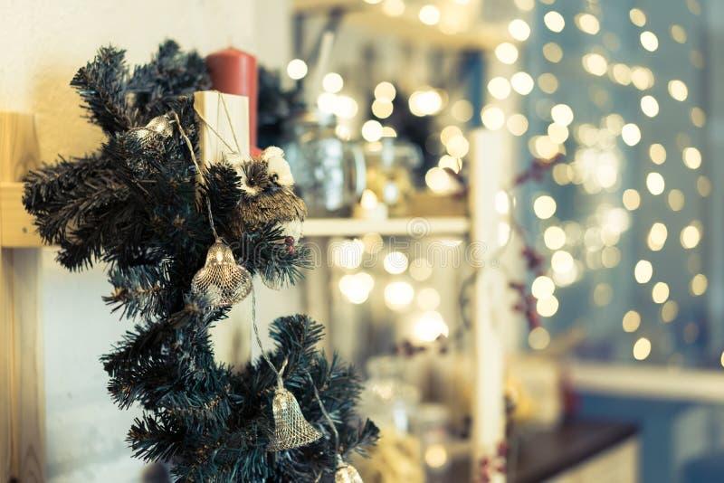 Jullampor och bokeh fotografering för bildbyråer