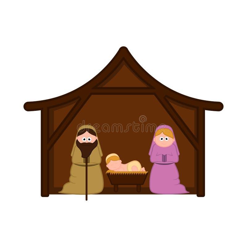 Jullathund med mary, joseph och att behandla som ett barn jesus vektor illustrationer