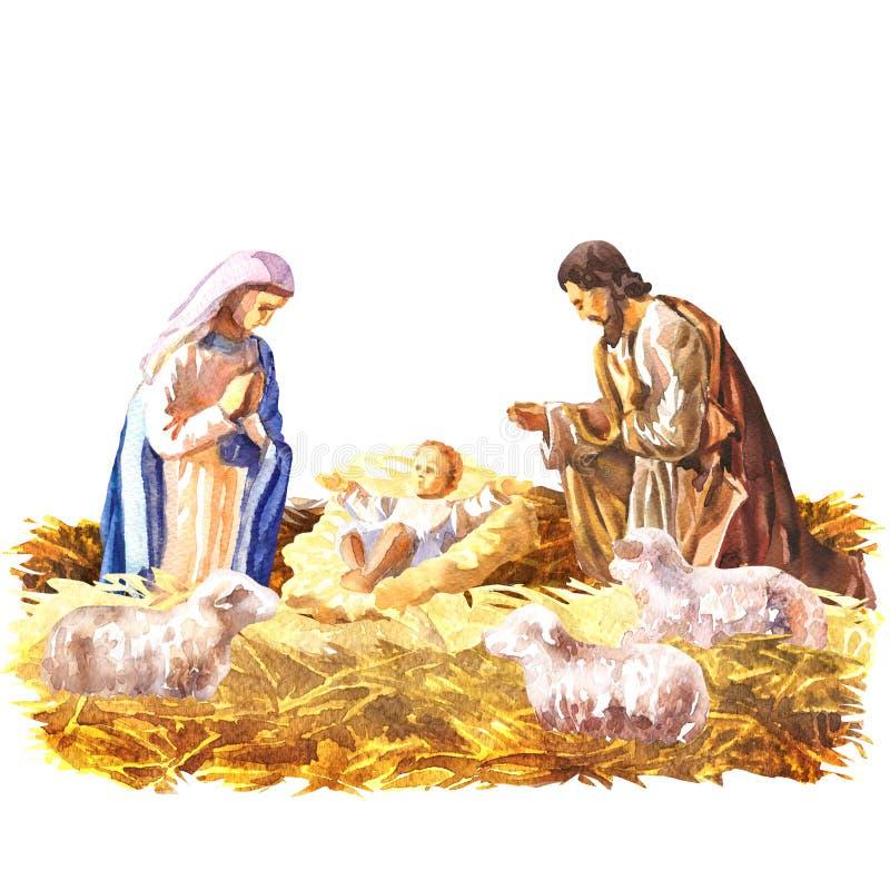 Jullathunden, den heliga familjen, juljulkrubba med behandla som ett barn Jesus, Mary och Joseph i krubban med sheeps stock illustrationer