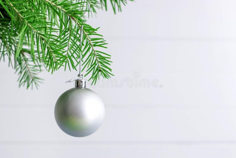Julleksak som hänger på en filial av prydlig garnering som isoleras på viten royaltyfria foton