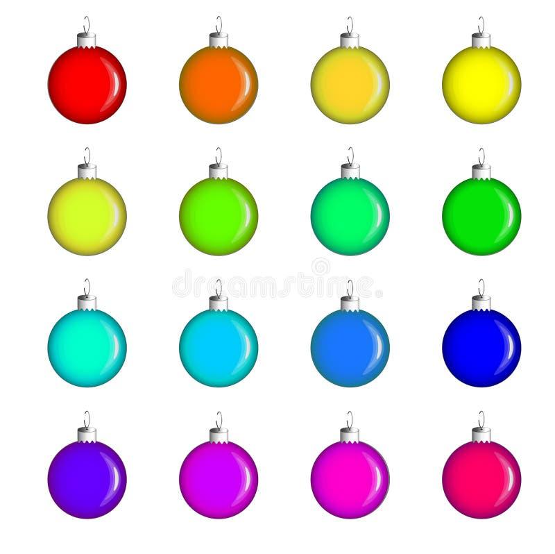 Julleksaker - en uppsättning av sexton exponeringsglasbollar av olika färger Garneringar f?r julgranen royaltyfri illustrationer
