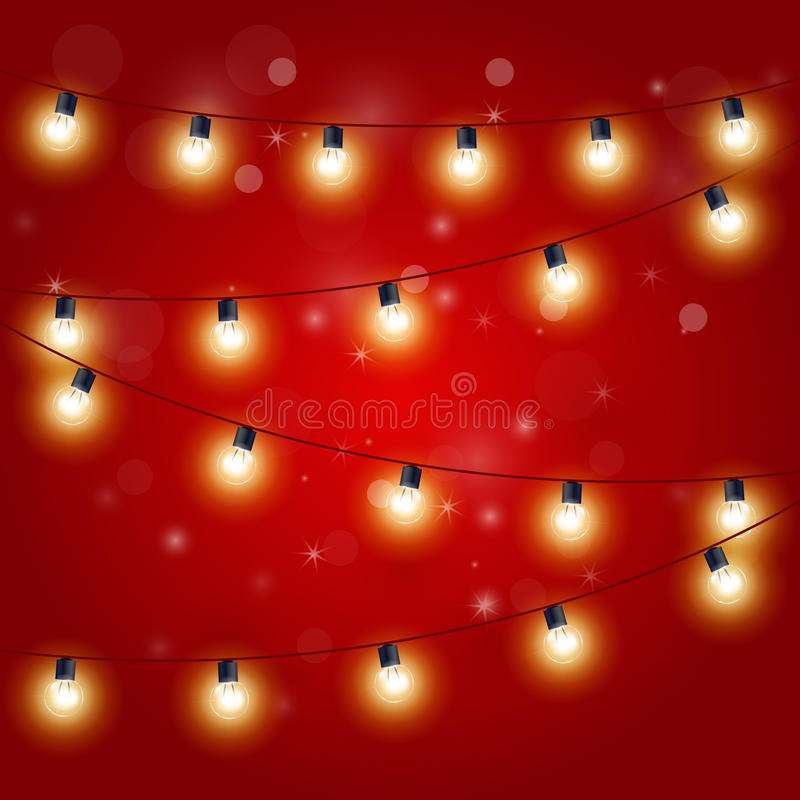 Julljus - festlig karnevalgirland med ljusa kulor vektor illustrationer