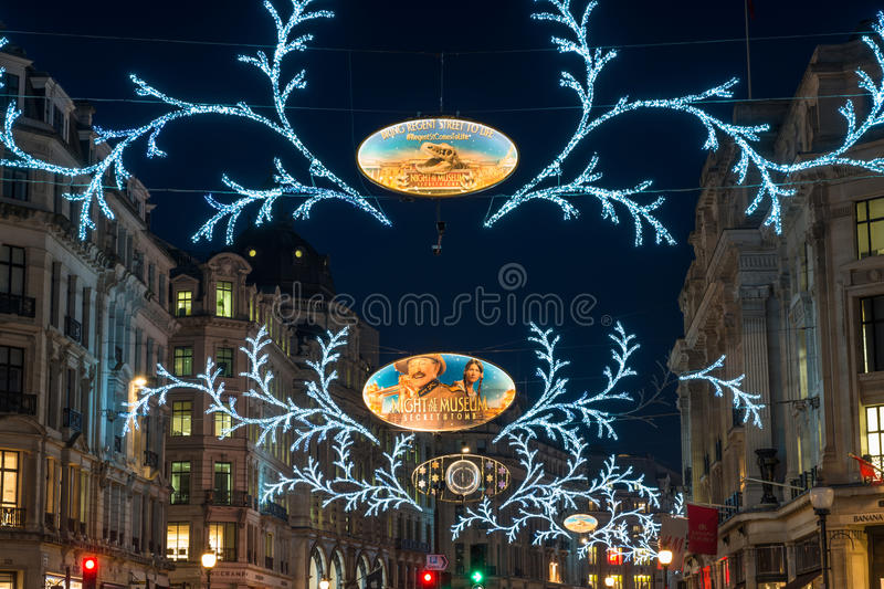 Julljus på Regent Street, London, UK royaltyfria foton