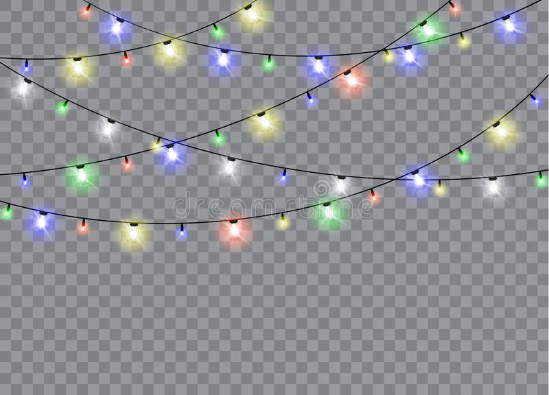 Julljus som isoleras på genomskinlig bakgrund stock illustrationer